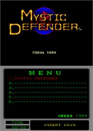 Title screen of Mystic Defender on the Arcade.