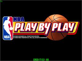 Title screen of NBA Play By Play on the Arcade.