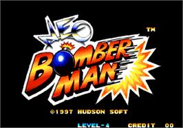 Title screen of Neo Bomberman on the Arcade.