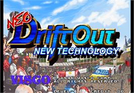 Title screen of Neo Drift Out - New Technology on the Arcade.