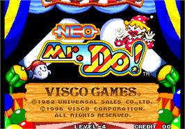 Title screen of Neo Mr. Do! on the Arcade.