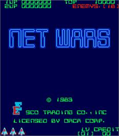 Title screen of Net Wars on the Arcade.