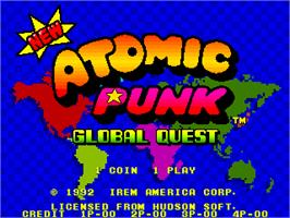 Title screen of New Atomic Punk - Global Quest on the Arcade.