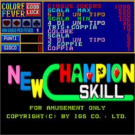 Title screen of New Champion Skill on the Arcade.