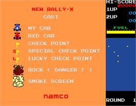Title screen of New Rally X on the Arcade.