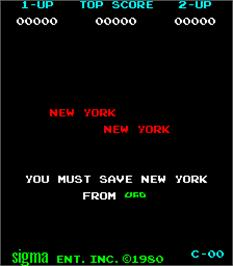 Title screen of New York! New York! on the Arcade.