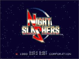 Title screen of Night Slashers on the Arcade.