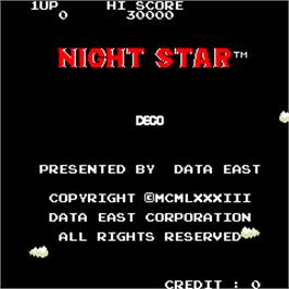 Title screen of Night Star on the Arcade.