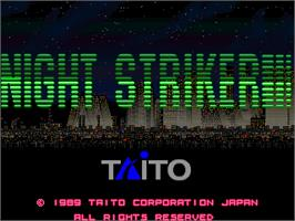 Title screen of Night Striker on the Arcade.