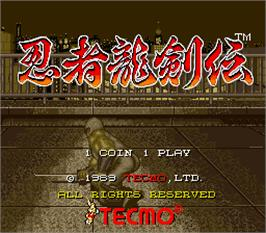 Title screen of Ninja Ryukenden on the Arcade.