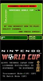 Title screen of Nintendo World Cup on the Arcade.