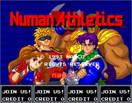 Title screen of Numan Athletics on the Arcade.