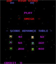 Title screen of Omega on the Arcade.