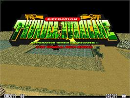 Title screen of Operation Thunder Hurricane on the Arcade.