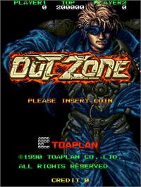Title screen of Out Zone on the Arcade.