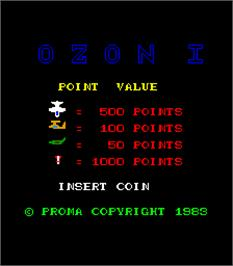 Title screen of Ozon I on the Arcade.