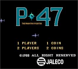 Title screen of P-47 - The Phantom Fighter on the Arcade.