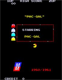 Title screen of Pac-Gal on the Arcade.
