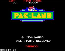 Title screen of Pac-Land on the Arcade.