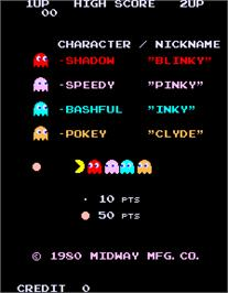Title screen of Pac-Man on the Arcade.