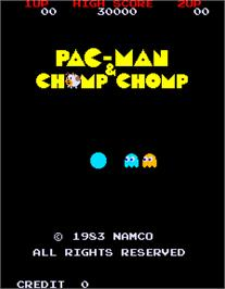 Title screen of Pac-Man & Chomp Chomp on the Arcade.