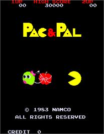 Title screen of Pac & Pal on the Arcade.