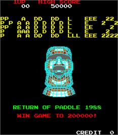 Title screen of Paddle 2 on the Arcade.