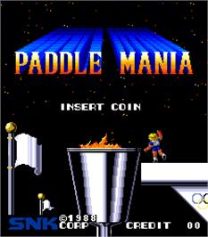 Title screen of Paddle Mania on the Arcade.