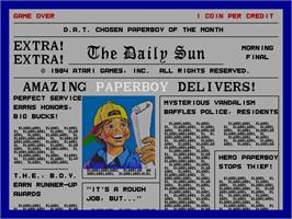 Title screen of Paperboy on the Arcade.