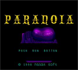Title screen of Paranoia on the Arcade.