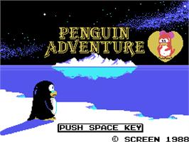 Title screen of Penguin Adventure on the Arcade.
