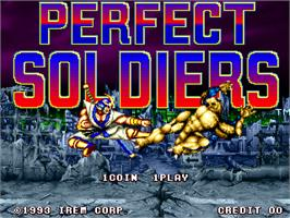 Title screen of Perfect Soldiers on the Arcade.