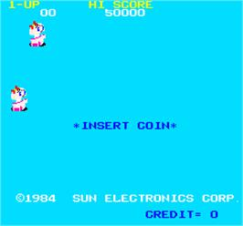Title screen of Pettan Pyuu on the Arcade.