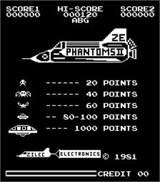 Title screen of Phantoms II on the Arcade.