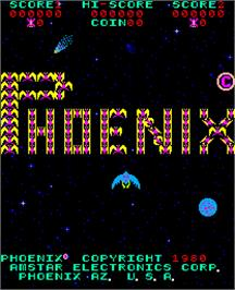 Title screen of Phoenix on the Arcade.