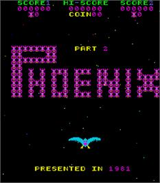 Title screen of Phoenix Part 2 on the Arcade.