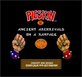 Title screen of Pigskin 621AD on the Arcade.