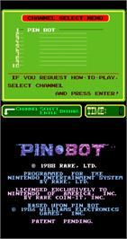 Title screen of PinBot on the Arcade.