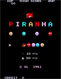 Title screen of Piranha on the Arcade.