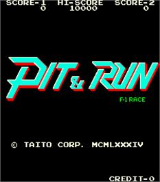 Title screen of Pit & Run - F-1 Race on the Arcade.