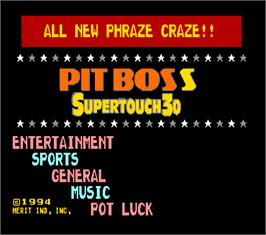 Title screen of Pit Boss Supertouch 30 on the Arcade.