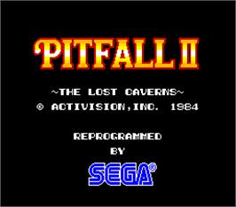 Title screen of Pitfall II on the Arcade.