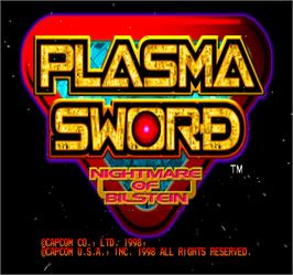 Title screen of Plasma Sword on the Arcade.