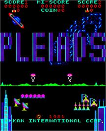 Title screen of Pleiads on the Arcade.