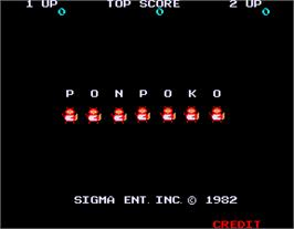Title screen of Ponpoko on the Arcade.