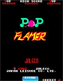 Title screen of Pop Flamer on the Arcade.