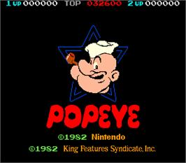 Title screen of Popeye on the Arcade.