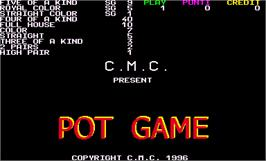 Title screen of Pot Game on the Arcade.