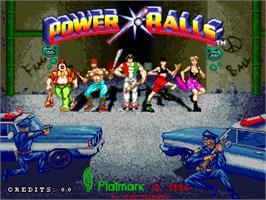 Title screen of Power Balls on the Arcade.