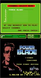 Title screen of Power Blade on the Arcade.